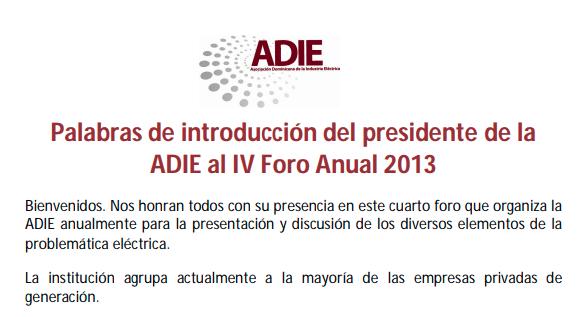 Palabras de Introducción del Presidente de la ADIE en el IV Foro anual