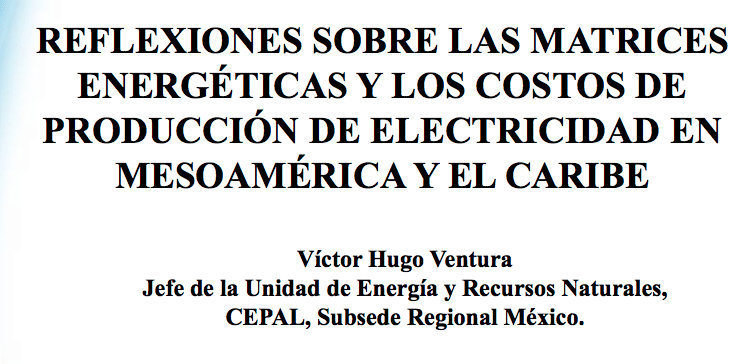 Hugo Ventura, Jefe de la Unidad de Energía de la CEPAL.