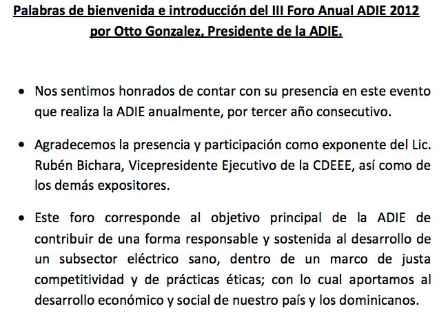 Palabras Otto Gonzalez Presidente ADIE - introduccion Foro ADIE 2012